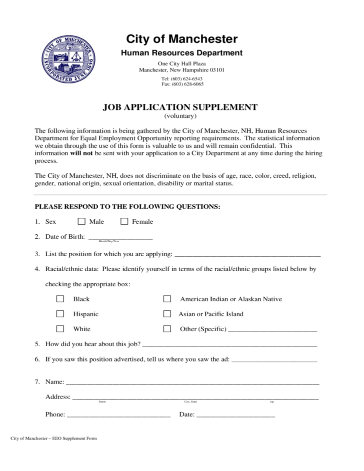 nh employment application for city of manchester free download
