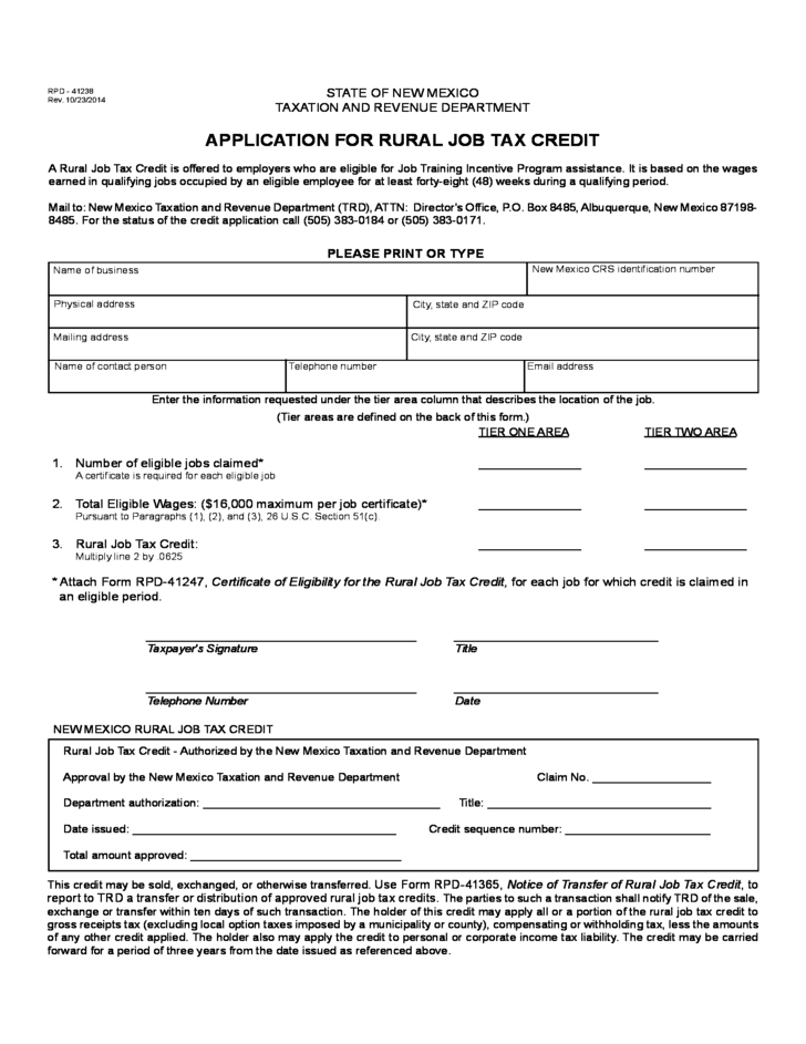 application for rural job tax credit for State of New Mexico Free ...