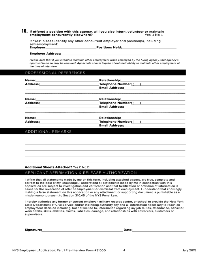 employment application pdf new york state parks free download