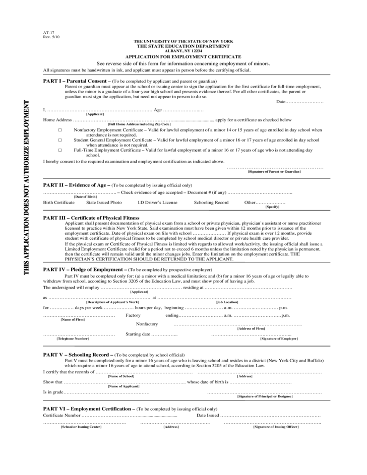 Application For Working Papers Free Download