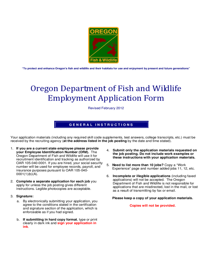 Manual fill in odfw application oregon department of for Fish and wildlife jobs