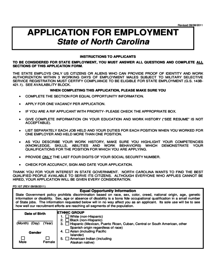 application for employment in state of north carolina free download