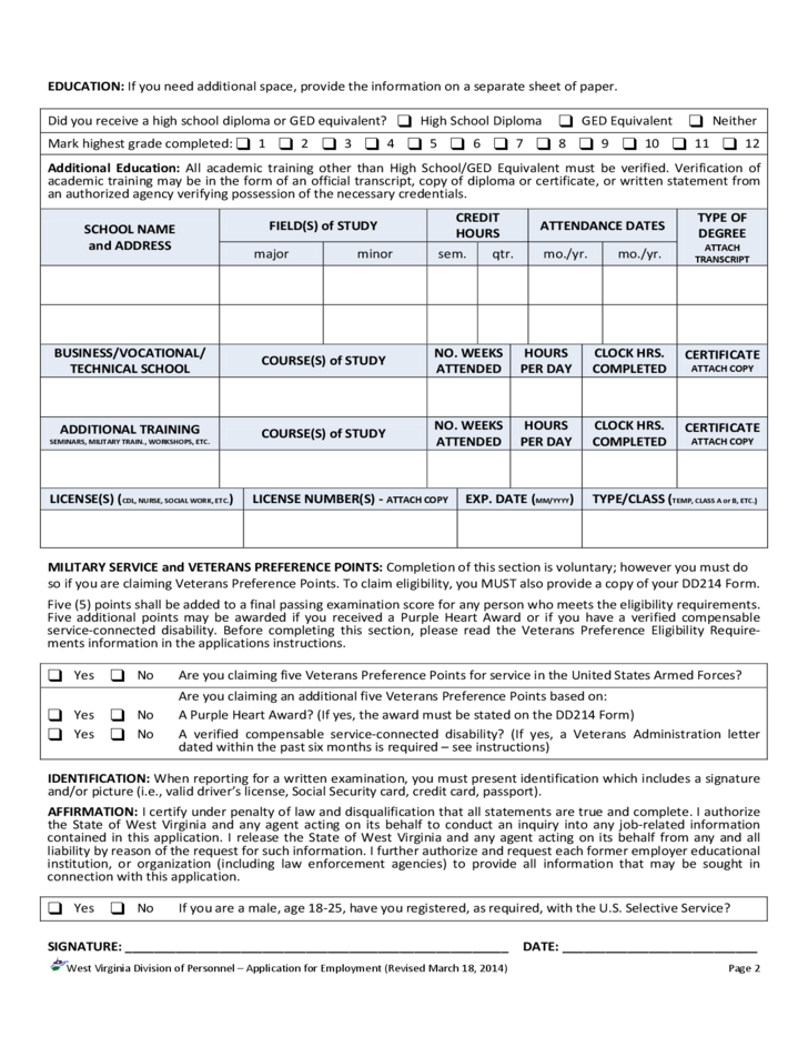 Application For Employment Instructions For Division Of Personnel