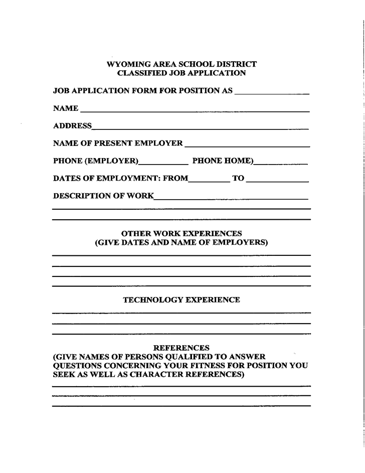 Classified Application Form Wyoming Area School District Free Download