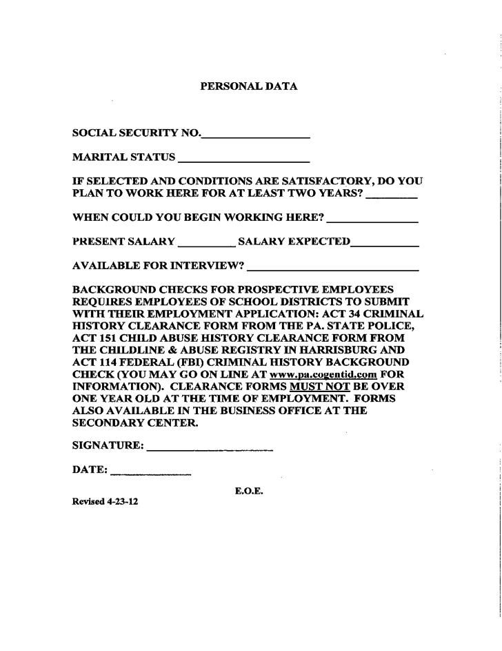 Classified Application Form - Wyoming Area School District Free Download