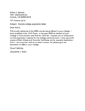 College Application Letter Sample Free Download
