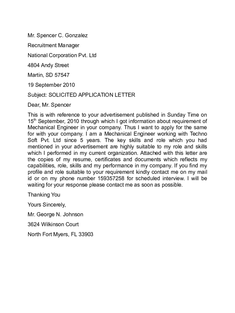 Pdf example of a solicited application letter