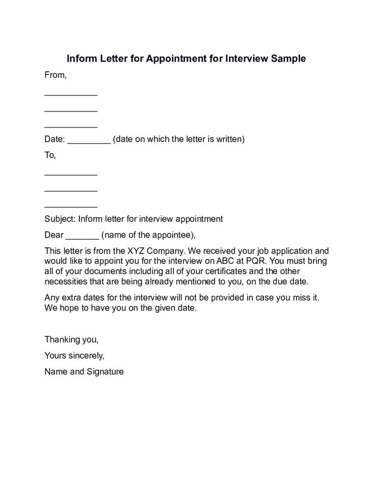 Sample Letter To Schedule An Interview