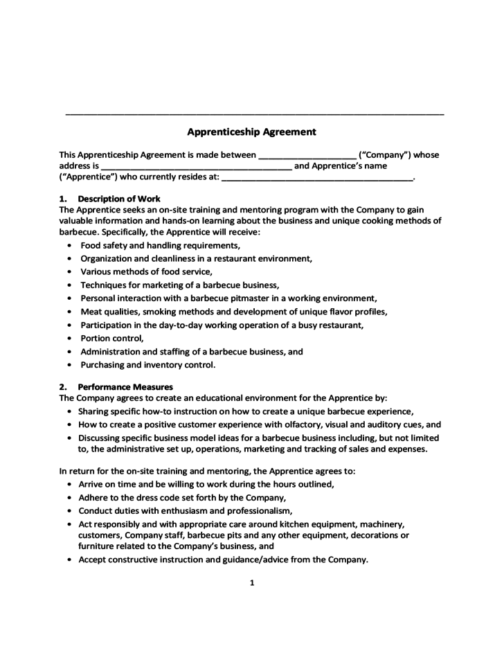 apprenticeship contract template apprenticeship agreement free download