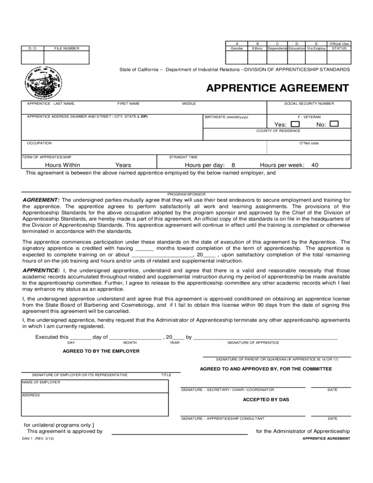 Apprentice Agreement California Free Download