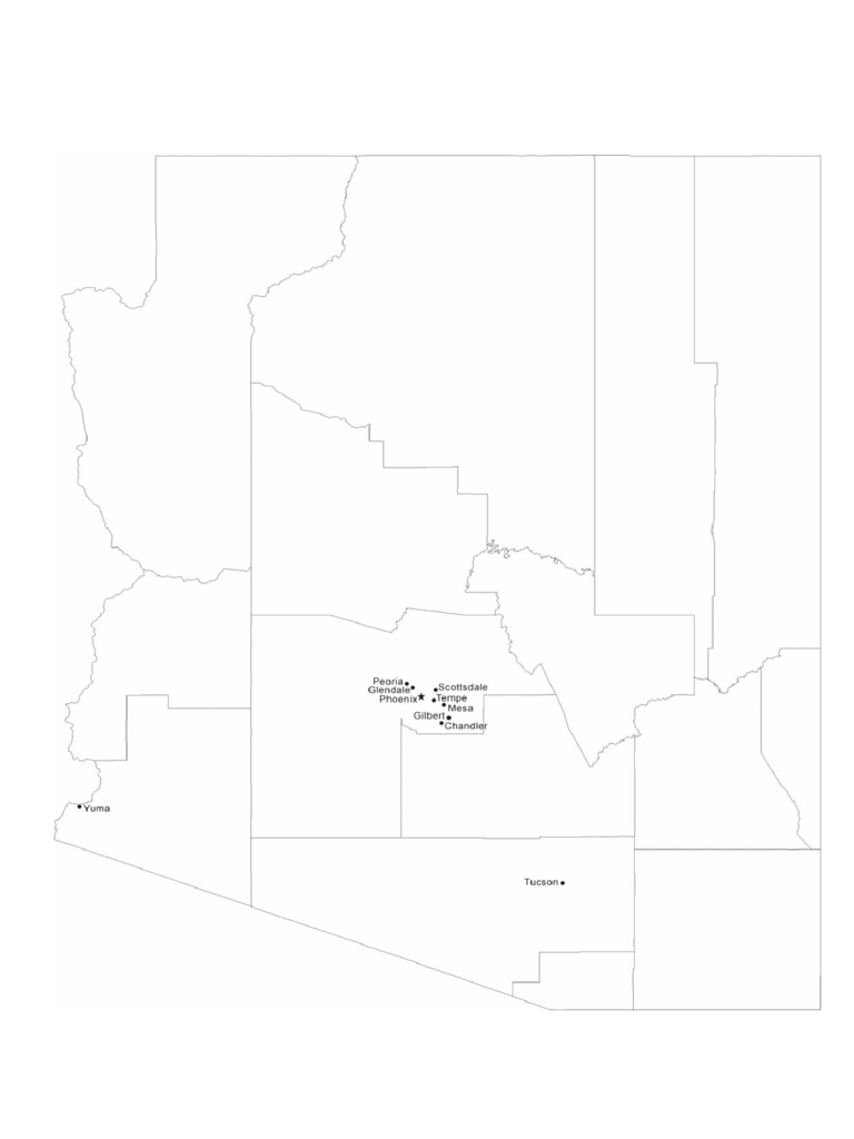 Map of Arizona Cities with City Names