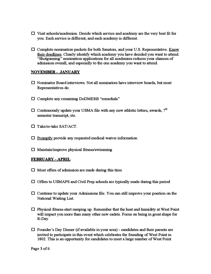 West Point Application Deadline >> West Point Steps To Admission Checklist Free Download