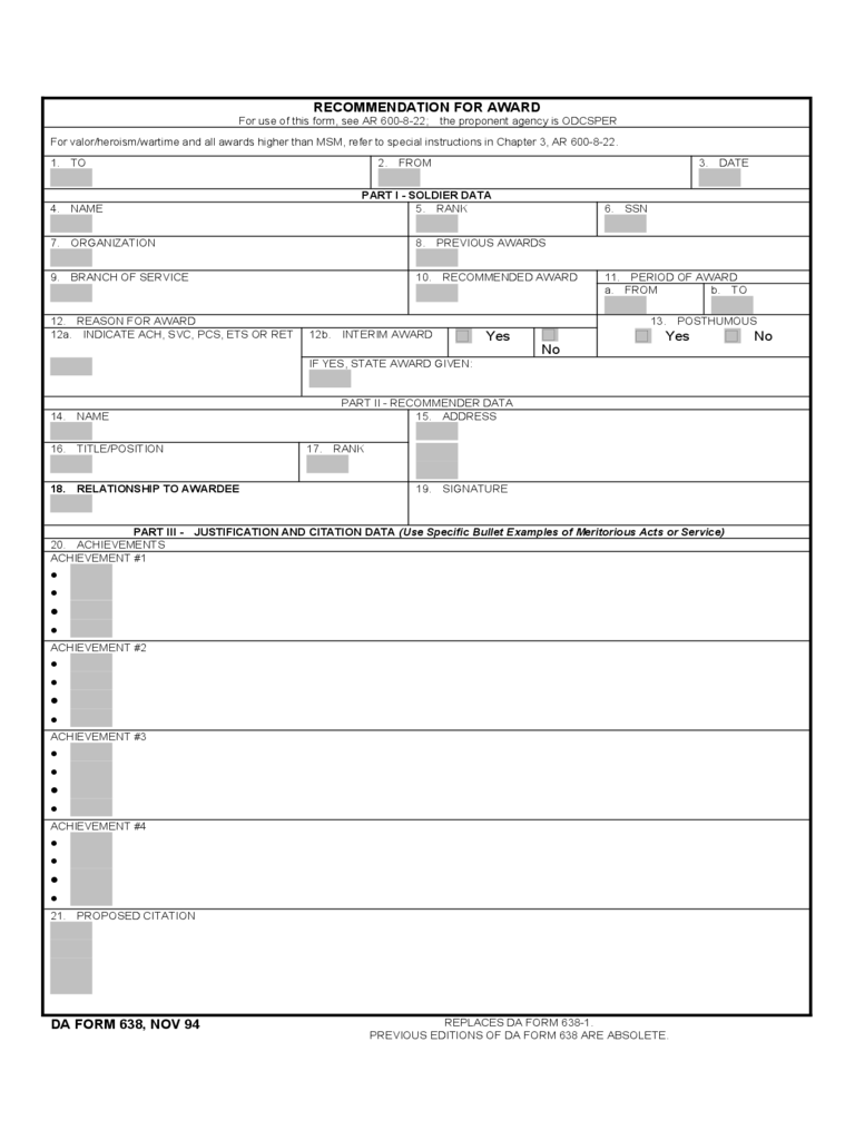 Recommendation for Awards Form