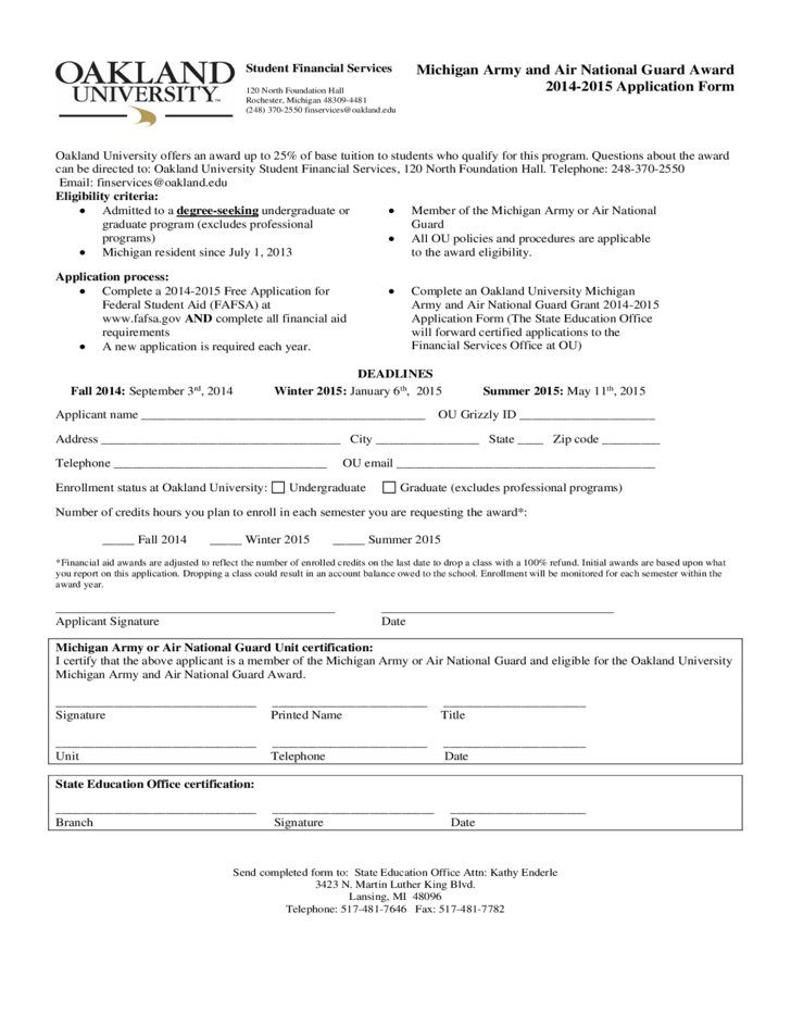 National Guard Application Form