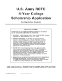 U.S. Army ROTC 4-Year College Scholarship Application Free Download