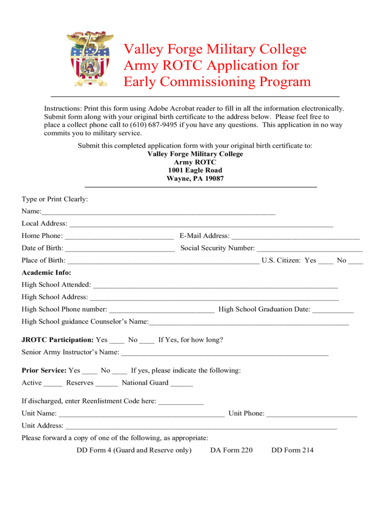 ... Military College Army ROTC Application for Early Commissioning Program