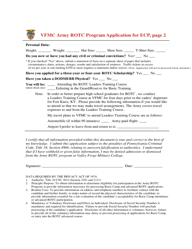 valley forge military college army rotc application for early commissioning program free download