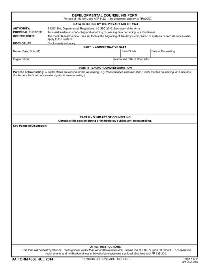Army Developmental Counseling Form Free Download – Army Counseling Form