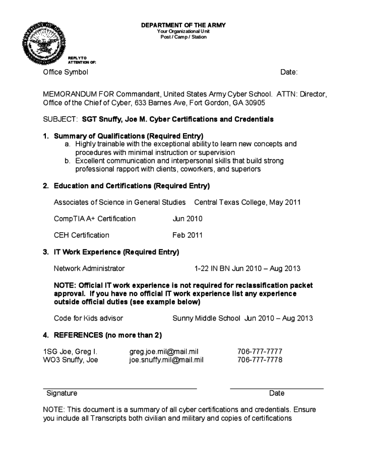 Official Memorandum Format for Army Free Download – Army Memo Template