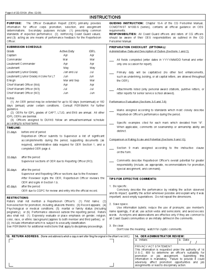 officer-evaluation-report-u-s-department-of-homeland-security-l4 Officer Evaluation Support Form Example For B on