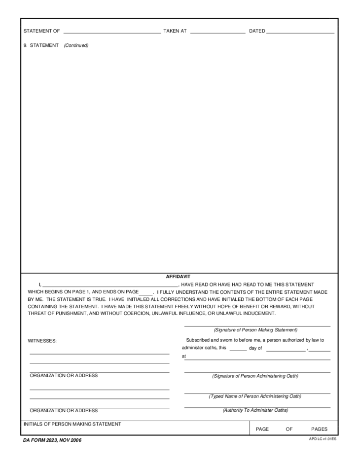 Da Form 2823 Pictures to Pin PinsDaddy – Example of Sworn Statement