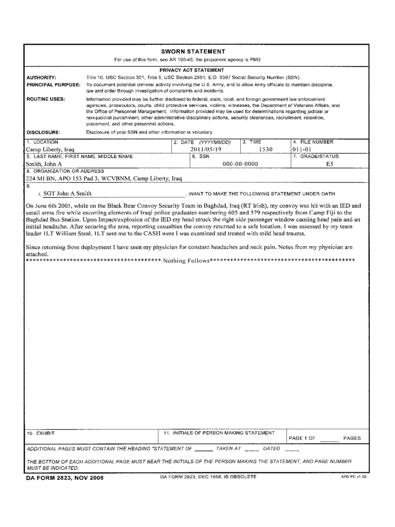 Army Sworn Statement Form 2 Free Templates In Pdf Word