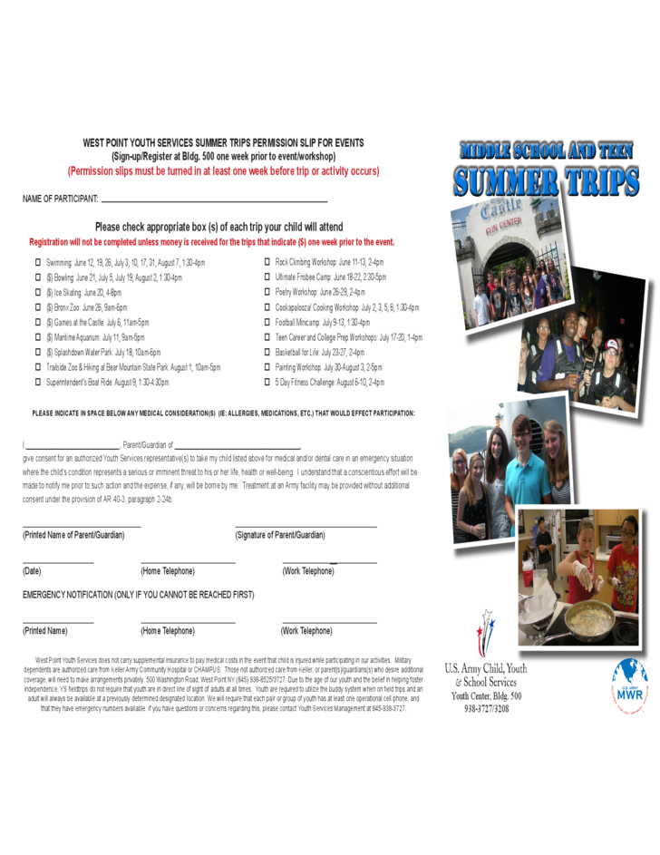 Middle School and Teen Summer Trips - West Point