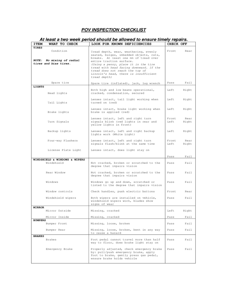 Army Vehicle Inspection Form