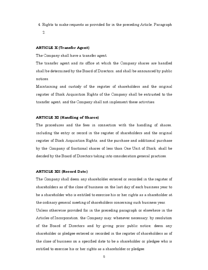 Sample Articles of Incorporation Template Free Download – Free Articles of Incorporation Template