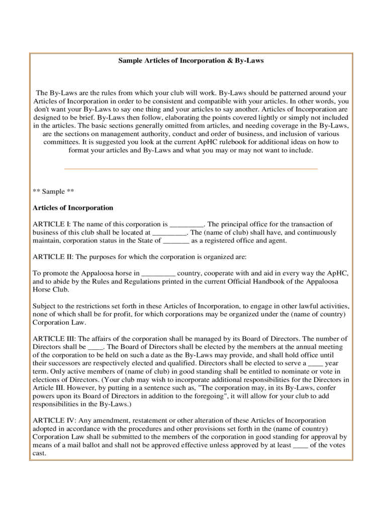 Sample Articles Of Incorporation And By Laws  Articles Of Incorporation Template Free