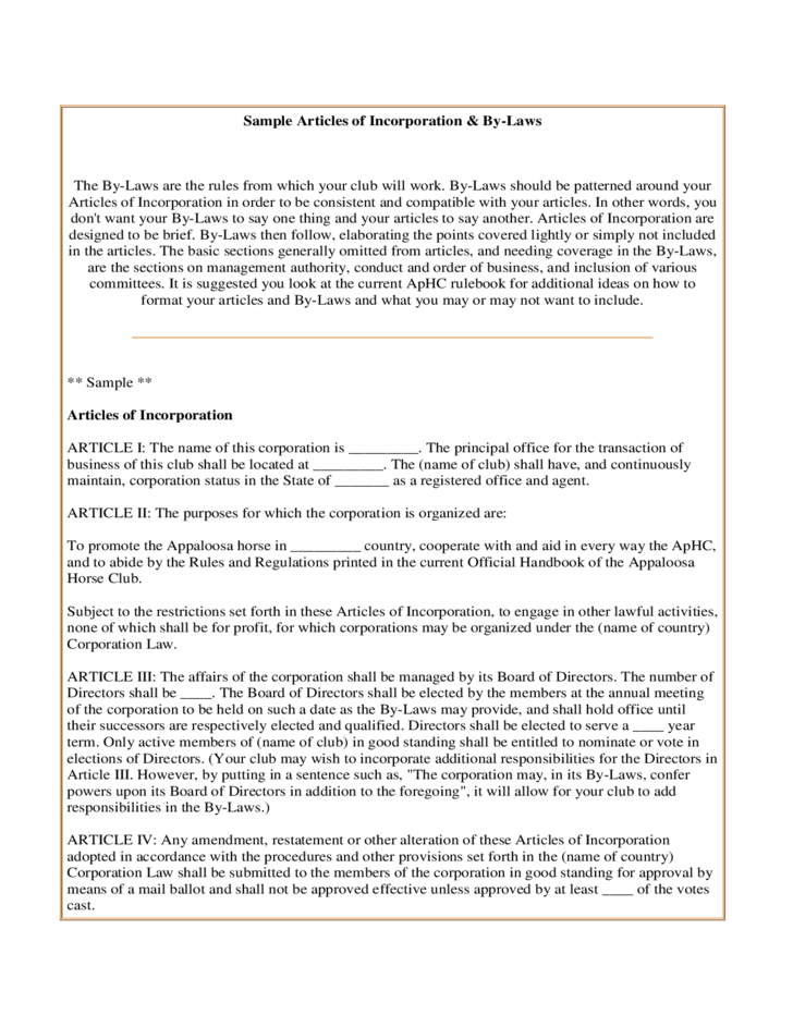sample articles of incorporation and by