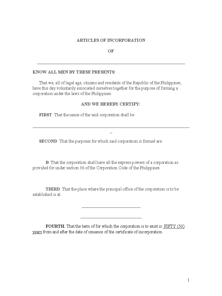 Articles of Incorporation Template 6 Free Templates in PDF Word – Free Articles of Incorporation Template