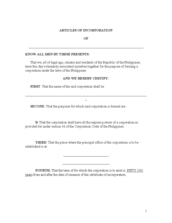 Articles of Incorporation Sample Free Download