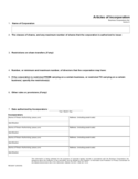Articles of Incorporation Sample Template Free Download
