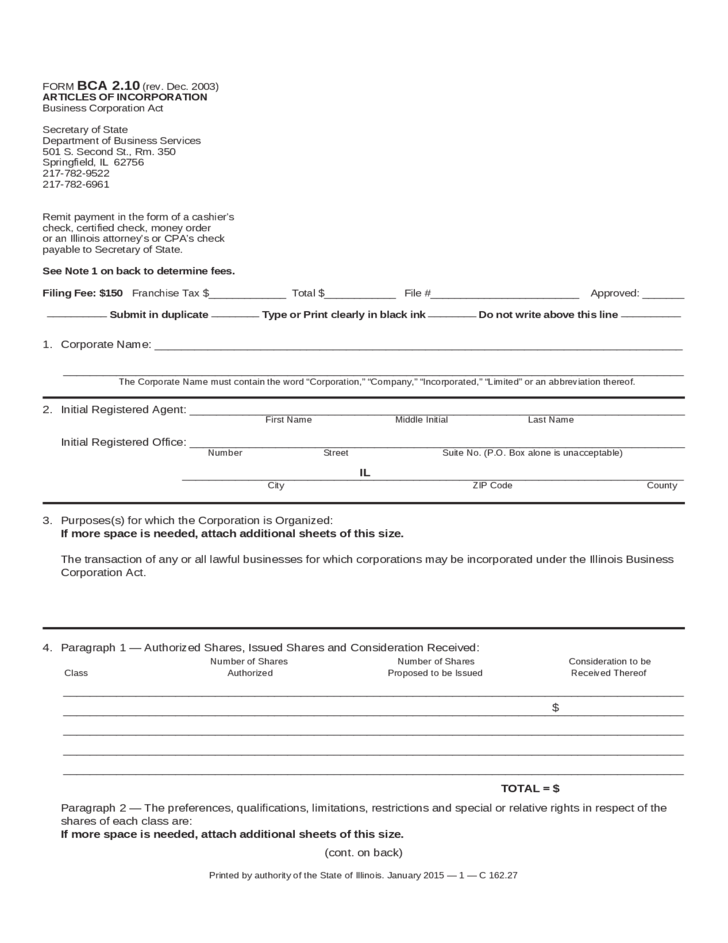 Articles Of Incorporation - Illinois Free Download