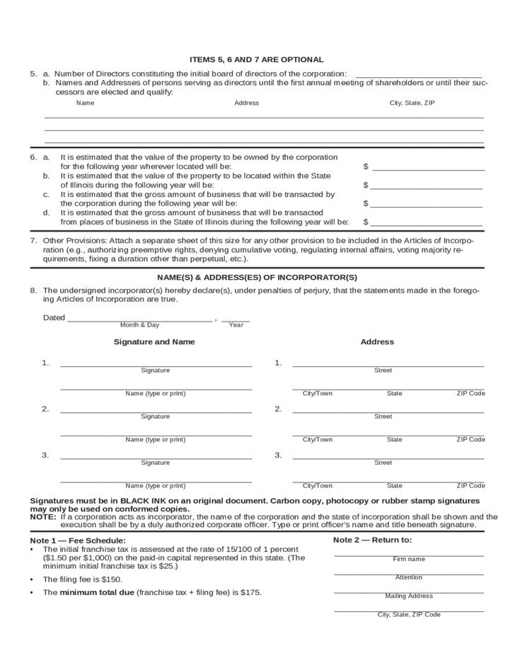 illinois articles of incorporation template