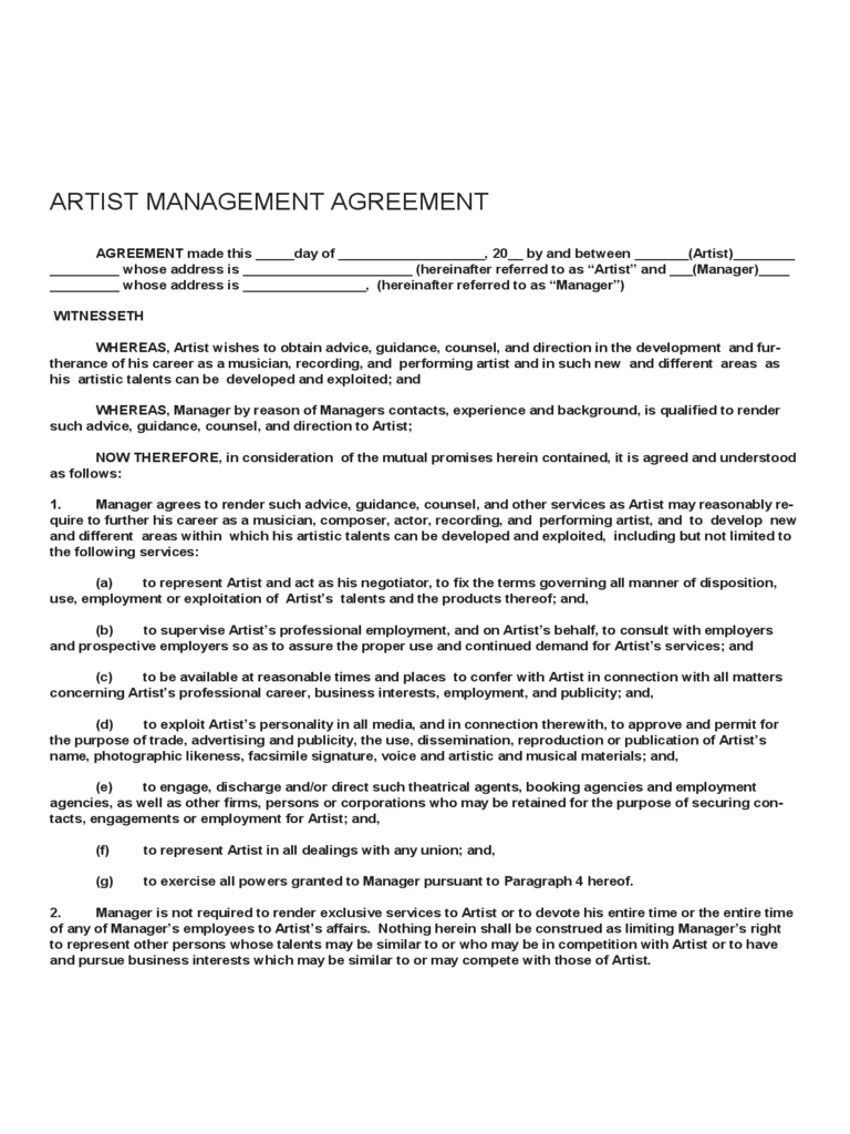Manager Contract Template Photo Artist Management Contract – Artist Management Contract Template