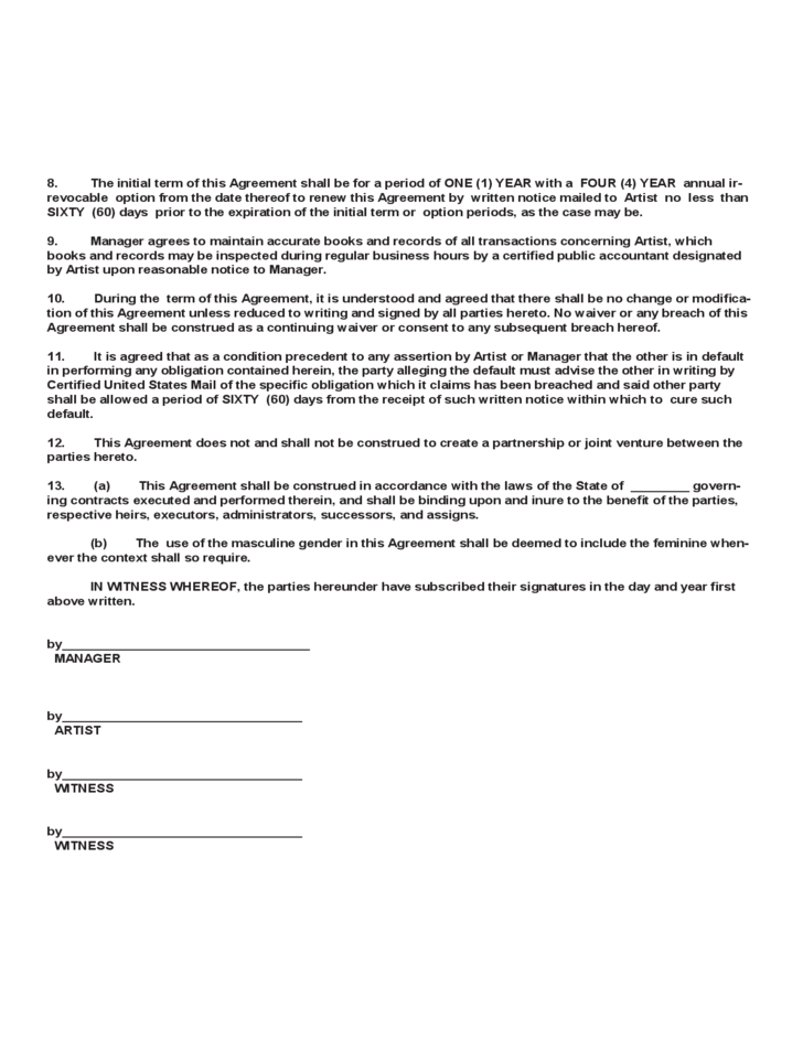 Merveilleux 4 Artist Management Contract Template