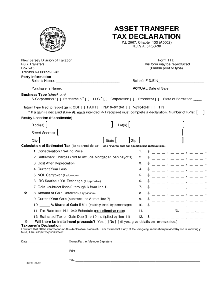 Assets Transfer Tax Declaration - New Jersey