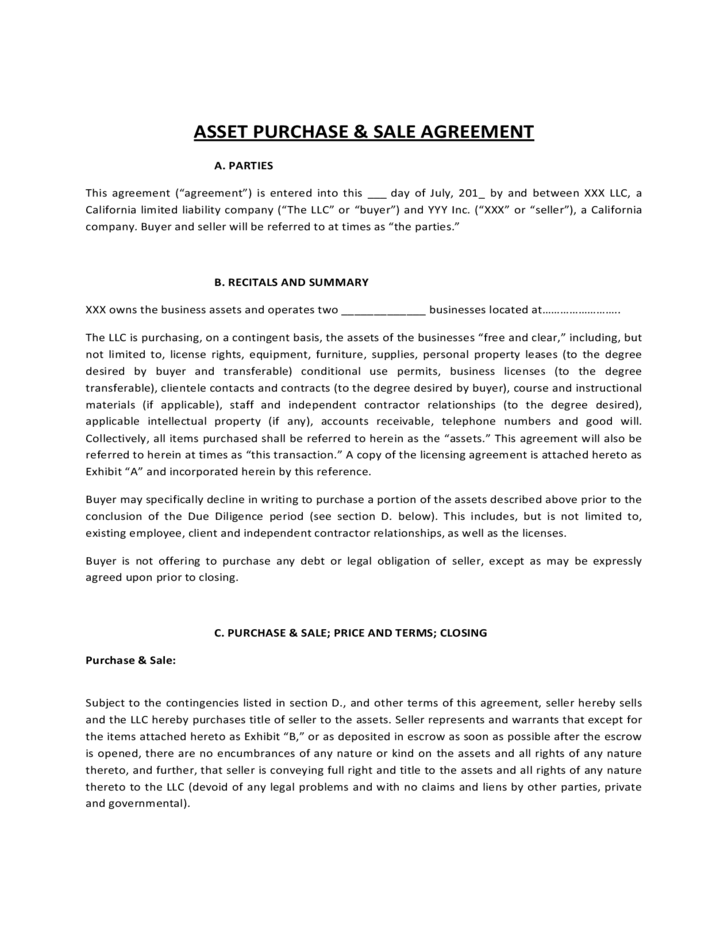 Asset Purchase And Sale Agreement Form Free Download