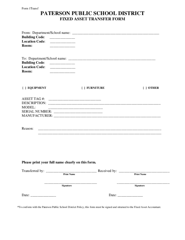 Paterson public school district fixed asset transfer form for Fixed asset policy template