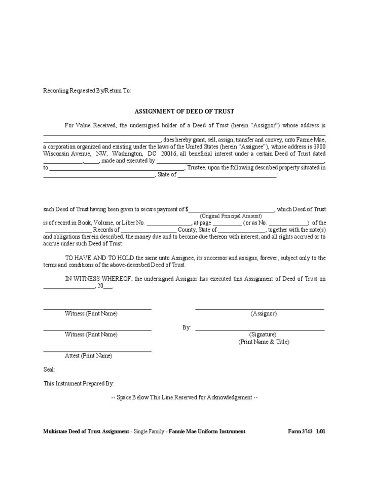 Deed Of Trust Assignment Form Free Download