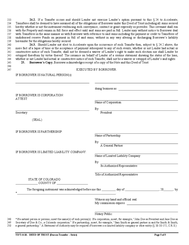Assignment of Deed of Trust Template Free Download