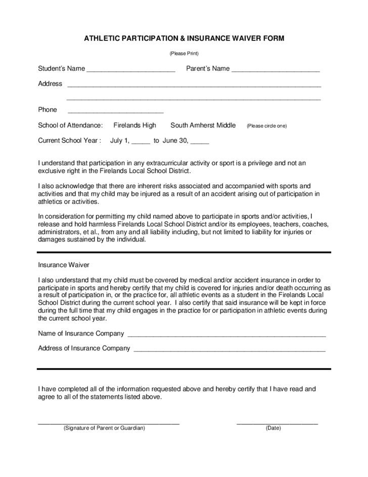 1 Athletic Waiver Form Ohio