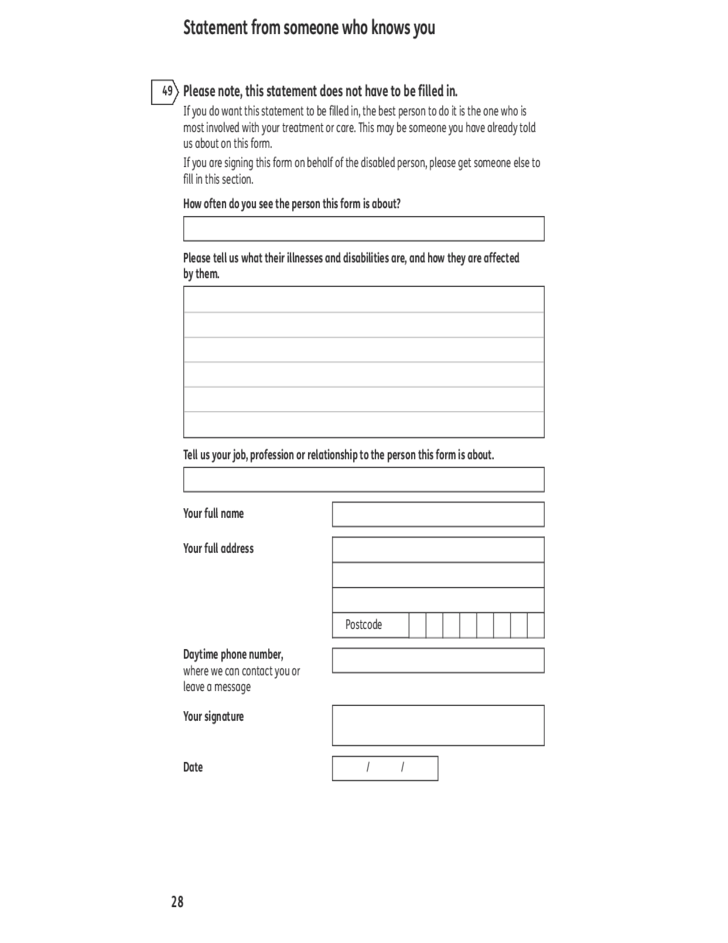 Nice 43 Attendance Allowance Form   UK