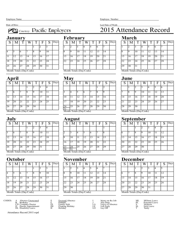 2015 Attendance Record Form