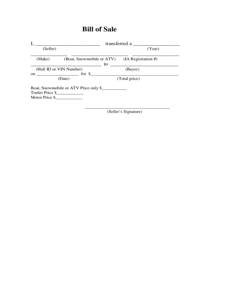 Atv Bill Of Sale Form Sample Free Download
