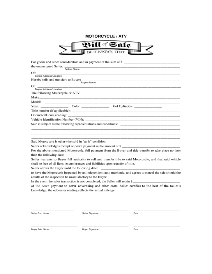 Texas Auto Bill Of Sale >> Motorcycle or ATV Bill of Sale Form Free Download