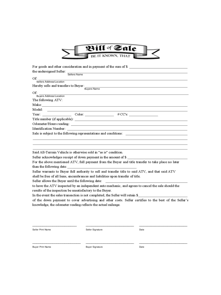 atv bill of sale form 9 free templates in pdf word excel download