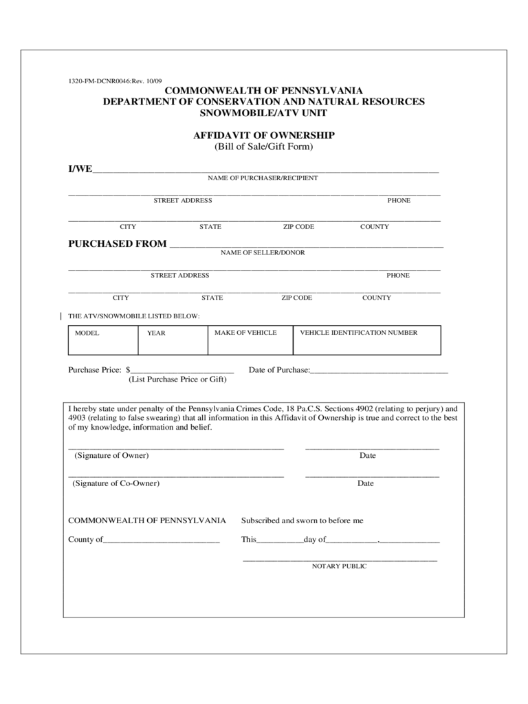 ATV or Snowmobile Bill of Sale Form - Pennsylvania